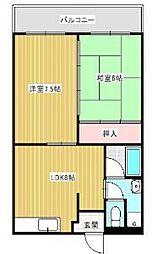 大阪府八尾市山本町北7丁目の賃貸マンションの間取り