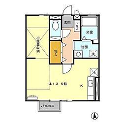 JR日豊本線 国分駅 徒歩32分の賃貸アパート 2階ワンルームの間取り