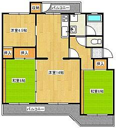 グリーンハイツ7−1号棟[401号室]の間取り