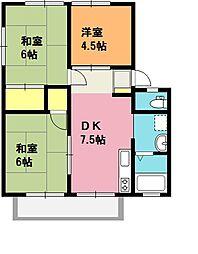 埼玉県上尾市中妻1丁目の賃貸アパートの間取り