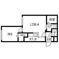 Empress中島公園 4階1LDKの間取り
