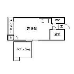 福岡県北九州市八幡西区皇后崎町の賃貸アパートの間取り
