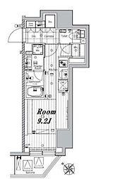 都営三田線 三田駅 徒歩7分の賃貸マンション 6階ワンルームの間取り