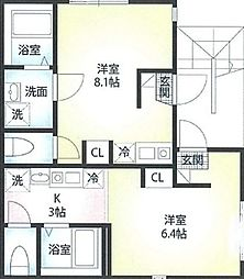 京急本線 黄金町駅 徒歩5分の賃貸アパート 3階1Kの間取り