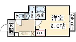 兵庫県伊丹市昆陽東6丁目の賃貸アパートの間取り
