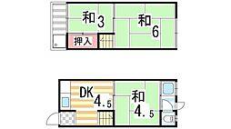 [テラスハウス] 大阪府四條畷市江瀬美町 の賃貸【/】の間取り