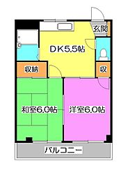東京都東久留米市中央町2丁目の賃貸マンションの間取り