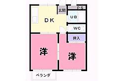 ドミール勝川[202号室]の間取り