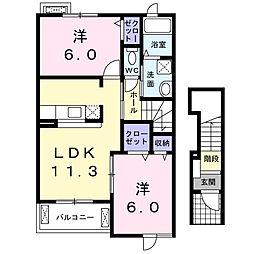 静岡県浜松市北区根洗町の賃貸アパートの間取り