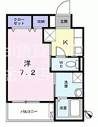 西武新宿線 田無駅 徒歩11分の賃貸マンション 3階1Kの間取り