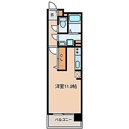 中ノ坂レジデンス 6階ワンルームの間取り