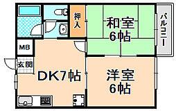 兵庫県伊丹市稲野町2丁目の賃貸アパートの間取り
