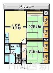 福岡県福岡市早良区荒江2丁目の賃貸マンションの間取り