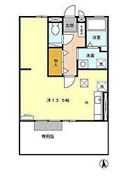 JR日豊本線 国分駅 徒歩32分の賃貸アパート 1階ワンルームの間取り
