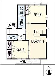 アランシアIII[2階]の間取り