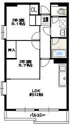 レジデンシャル五洋[5階]の間取り