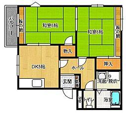 福岡県北九州市小倉北区足立3丁目の賃貸アパートの間取り