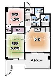 アペックスハイム守口 4階2DKの間取り