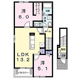 BEST HOUSE II A・B[A201号室]の間取り