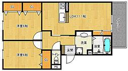 京都府京都市山科区西野山欠ノ上町の賃貸アパートの間取り