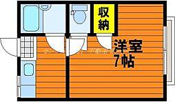 岡山県岡山市北区大供2丁目の賃貸アパートの間取り
