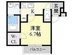 フジパレス瑞光駅南 2階1Kの間取り