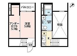 名鉄空港線 常滑駅 徒歩5分の賃貸アパート 1階1SKの間取り