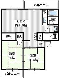 狭山遊園ハイツ6棟[1階]の間取り