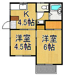 コーポカネコ[1階]の間取り