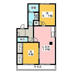 T・TOWNフレアA・B・C[2階]の間取り
