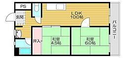 Osaka Metro今里筋線 清水駅 徒歩20分の賃貸マンション 3階2LDKの間取り