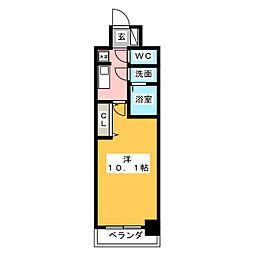 プレサンス丸の内フォート 13階1Kの間取り