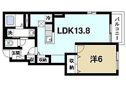 奈良県天理市別所町の賃貸アパートの間取り