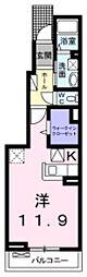 近鉄南大阪線 高鷲駅 徒歩5分の賃貸アパート 1階ワンルームの間取り