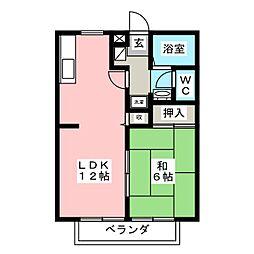 愛知県岡崎市森越町字森下の賃貸アパートの間取り