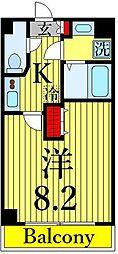 東京メトロ日比谷線 三ノ輪駅 徒歩5分の賃貸マンション 7階1Kの間取り
