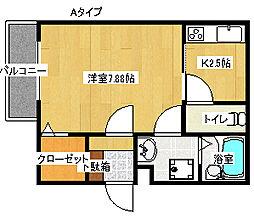 カーサ中加賀屋[3階]の間取り