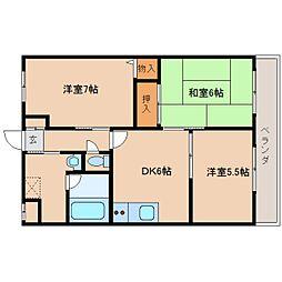 近鉄天理線 天理駅 徒歩10分の賃貸マンション 1階3DKの間取り