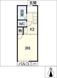 カーナK&K[2階]の間取り