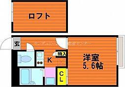 JR宇野線 宇野駅 徒歩25分の賃貸アパート 1階1Kの間取り
