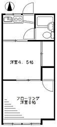 東京都杉並区上荻3丁目の賃貸アパートの間取り