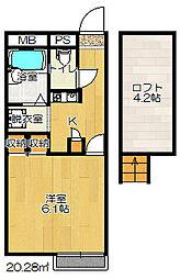 大阪府四條畷市大字清瀧の賃貸アパートの間取り
