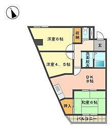 愛知県名古屋市名東区牧の里1丁目の賃貸マンションの間取り