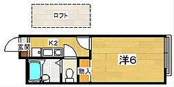 レオパレスエスポワール藤阪[1階]の間取り