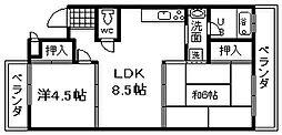 エクセルサツキ 3階2LDKの間取り