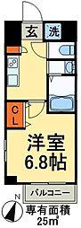 WAVE西新井 9階1Kの間取り