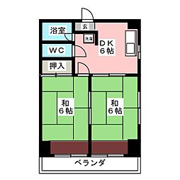 花の木コーポ[4階]の間取り
