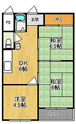 西宮第3コーポラスA棟[3階]の間取り