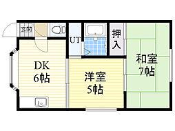 バス 東苗穂10条3丁目下車 徒歩3分の賃貸アパート 2階2DKの間取り