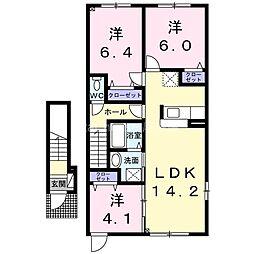 札幌市営南北線 麻生駅 バス15分 新琴似6条13丁目下車 徒歩4分の賃貸アパート 2階3LDKの間取り